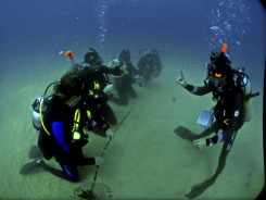 divers holding rope
