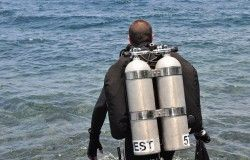 diver walking ocean