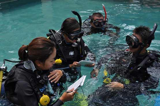 instructor with divemasters in pool