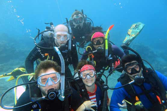team picture under water