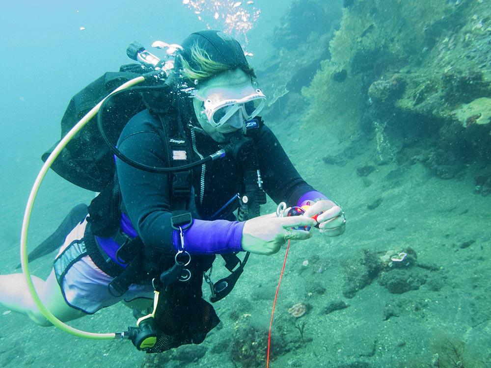 PADI Course Director Helene diving Tulamben Bali